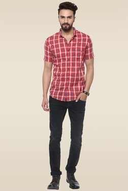 Mufti Red Checkered Half Sleeves Shirt