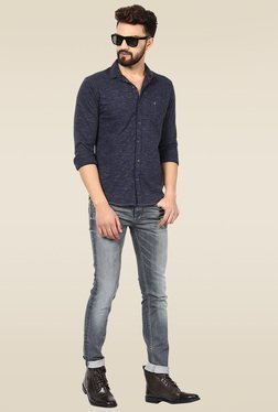 Mufti Navy Slim Fit Full Sleeves Shirt