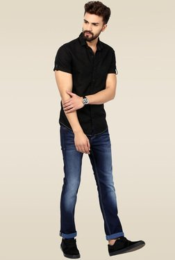 Mufti Black Solid Half Sleeves Shirt