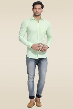 London Bee Green Striped Slim Fit Shirt