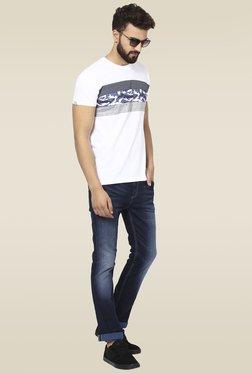 Mufti White Round Neck Printed T-Shirt