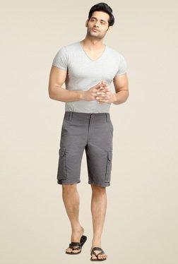 London Bee Grey Mid Rise Regular Fit Shorts