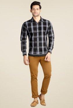 London Bee Black Full Sleeves Slim Fit Shirt