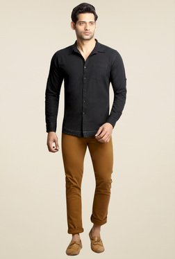 London Bee Black Full Sleeves Slim Fit Cotton Shirt