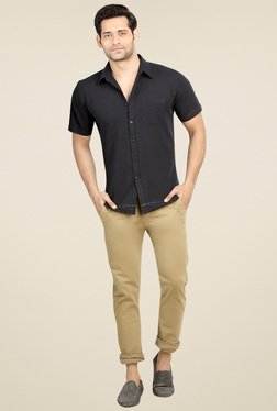 London Bee Black Slim Fit Cotton Shirt