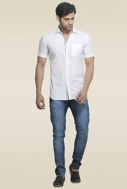 London Bee White Solid Shirt