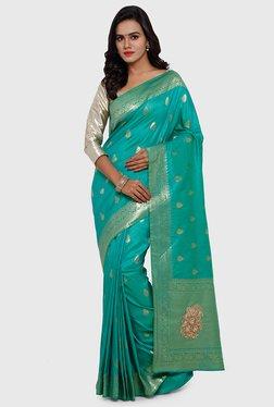 SMAYANA Teal Printed Banarasi Silk & Faux Silk Saree