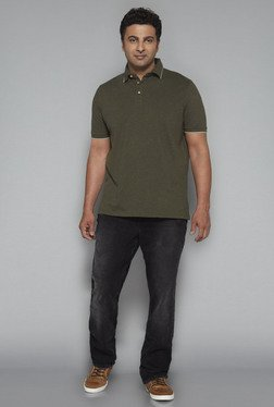 Oak & Keel by Westside Olive Relaxed Fit Polo T Shirt