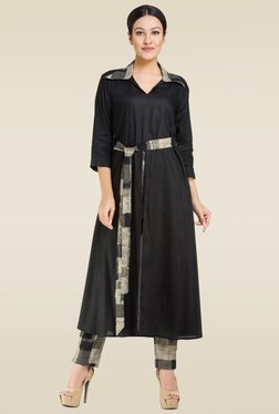Ruham Black Regular Fit Kurta
