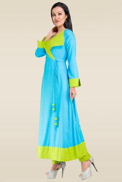 Ruham Light Blue Full Sleeves Kurta