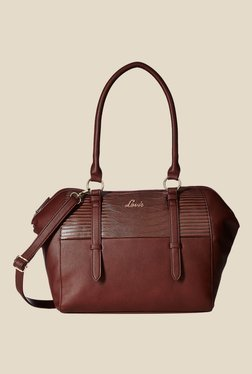 Lavie Silat Brown Textured Large Trapeze Bag