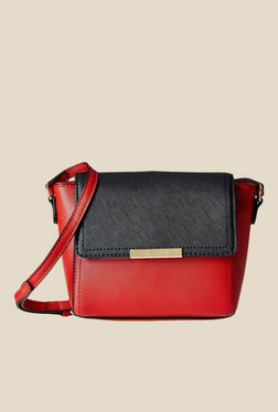 Lavie Dover CSB Red Textured Trapeze Small Sling Bag