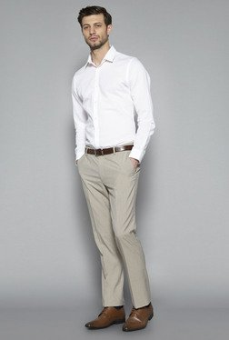 Weststreet By Westside White Slim Fit Textured Shirt