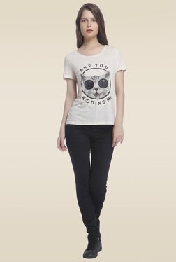 Vero Moda Off-white Round Neck T-shirt