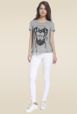Vero Moda Grey Round Neck Printed T-shirt