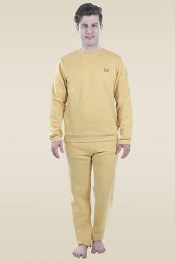 Valentine Yellow Full Sleeves Mid Rise Pyjama Set