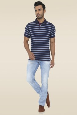 Greenfibre Navy & Blue Striped Polo T-Shirt