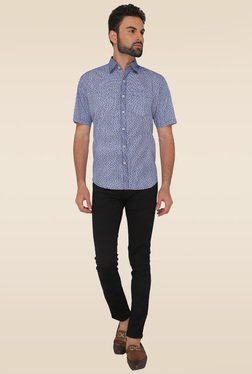 Greenfibre Navy Blue Printed Regular Fit Shirt