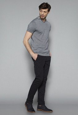 Ascot by Westside Grey Slim Fit Textured T Shirt