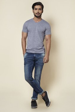 Zudio Grey V-Neck Slim Fit Textured T Shirt