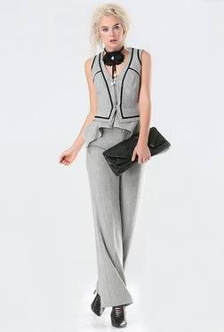 Bebe Grey Textured Waist Coat