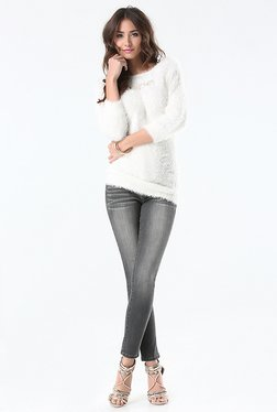 Bebe White Solid Sweater