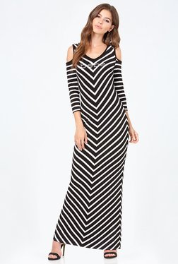 Bebe Black & White Striped Dress