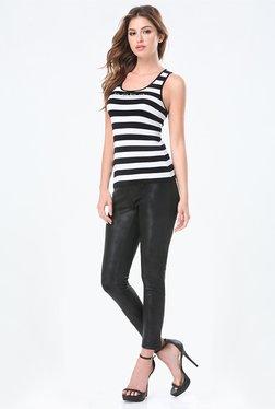 Bebe Black & White Striped Tank Top