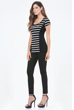 Bebe Black & White Striped Top