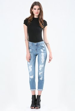 Bebe Blue Distressed Jeans
