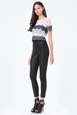 Bebe Off White Lace Crop Top