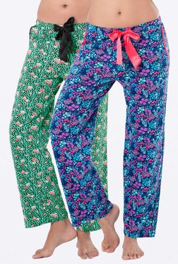 PrettySecrets Navy & Green Printed Pyjamas (Pack Of 2)