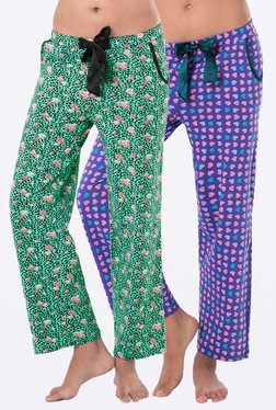PrettySecrets Green & Purple Printed Pyjamas (Pack Of 2)