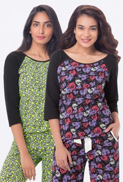 PrettySecrets Black & Lime Heart Print Top (Pack Of 2)