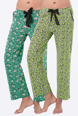 PrettySecrets Lime & Green Printed Pyjamas (Pack Of 2)