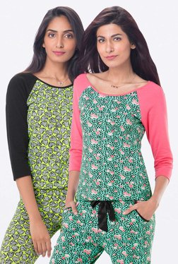 PrettySecrets Green & Lime Printed Top (Pack Of 2)