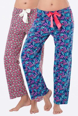 PrettySecrets Navy & Pink Printed Pyjamas (Pack Of 2)