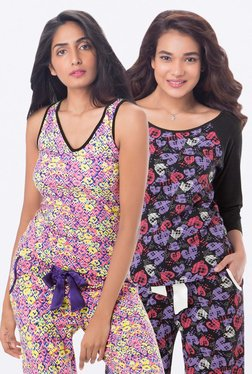 PrettySecrets Pink & Black Printed Top (Pack Of 2)