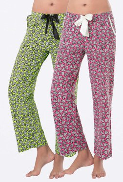 PrettySecrets Pink & Lime Heart Print Pyjamas (Pack Of 2)