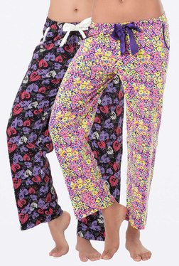 PrettySecrets Pink & Black Printed Pyjamas (Pack Of 2)