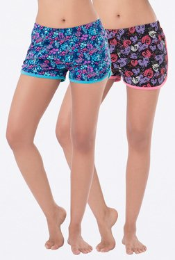 PrettySecrets Navy & Black Printed Shorts (Pack Of 2)