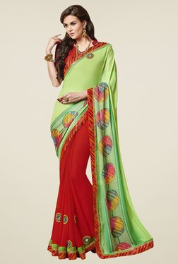 Aasvaa Red & Lime Embroidered Chiffon Saree