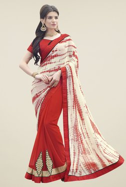 Aasvaa Red & Off White Printed Georgette Saree