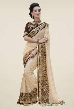 Aasvaa Cream Embroidered Georgette Saree available at TatacliQ for Rs.4674
