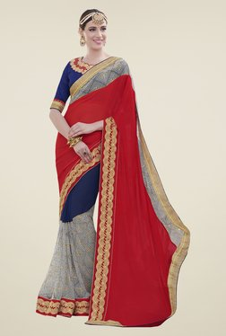 Aasvaa Blue & Red Embroidered Chiffon Saree