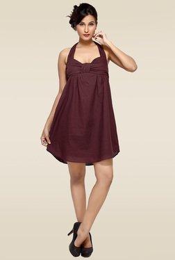Loco En Cabeza Brown Sweetheart Neck Dress