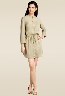 Loco En Cabeza Beige 3/4th Sleeves Short Dress