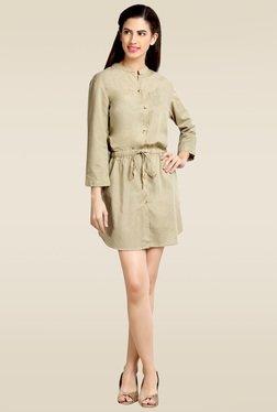 Loco En Cabeza Beige 3/4th Sleeves Short Dress