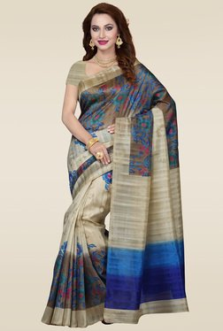 Ishin Beige & Blue Printed Bhagalpuri Silk Saree
