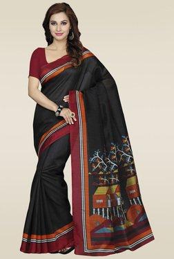 Ishin Black Printed Bhagalpuri Silk Saree - Mp000000000984482